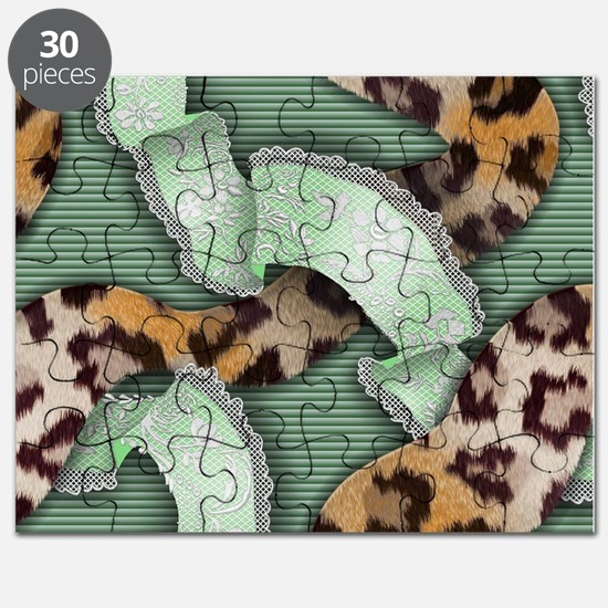 Leopards'n Lace - Green Puzzle