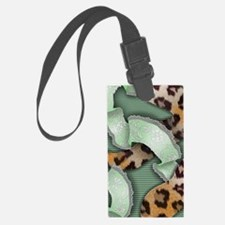Leopards'n Lace - Green Luggage Tag