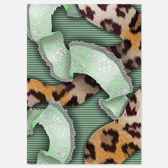 Leopards'n Lace - Green Invitations