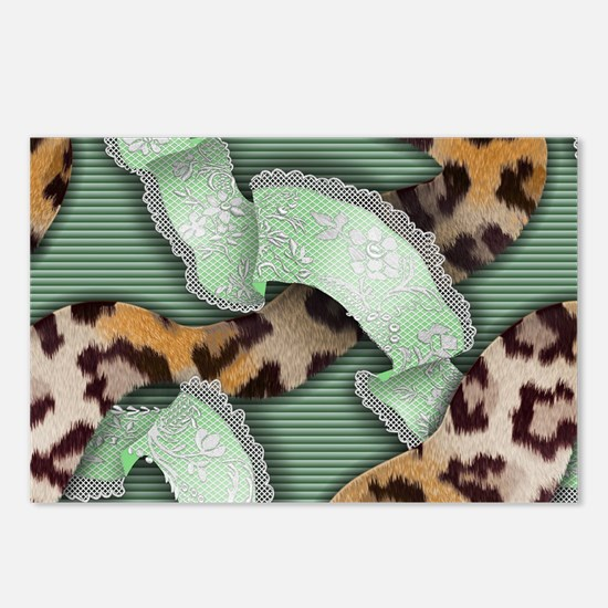 Leopards'n Lace - Green Postcards (Package of 8)