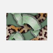 Leopards'n Lace - Green Rectangle Magnet