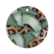 Leopards'n Lace - Green Ornament (Round)