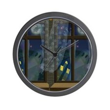 Ghosts in Window Halloween Wall Clock