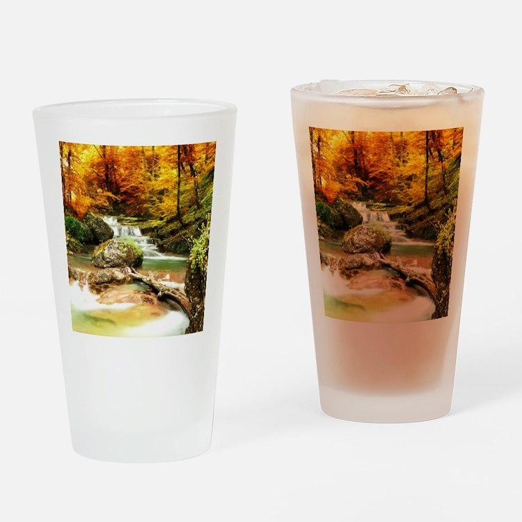 Autumn Stream Drinking Glass