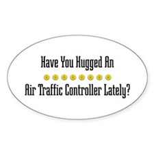 Hugged Air Traffic Controller Oval Decal