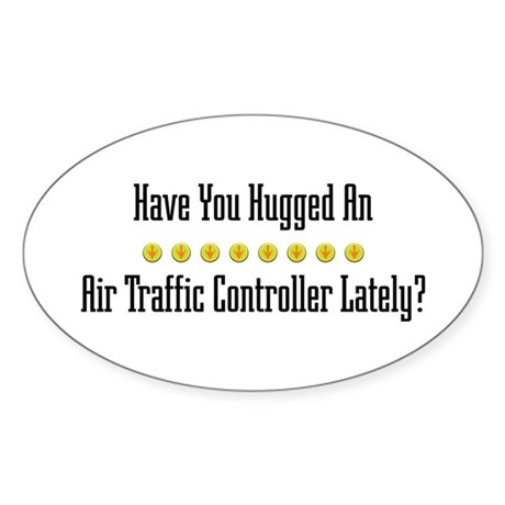 Hugged Air Traffic Controller Oval Sticker