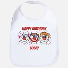 Happy Birthday BOBBY (clowns) Bib