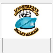 UN - UN Beret - Peacekeeper Yard Sign