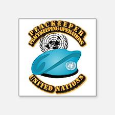 "UN - UN Beret - Peacekeeper Square Sticker 3"" x 3"""