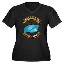 UN - UN Bere Women's Plus Size V-Neck Dark T-Shirt