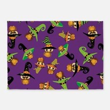 Halloween Owls - purple 5'x7'Area Rug