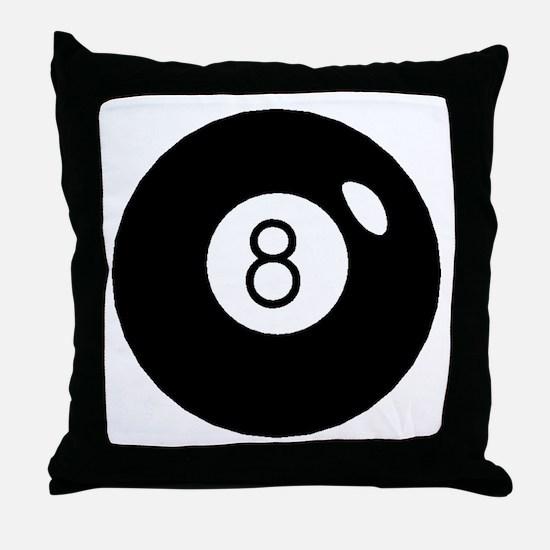 Black Eight Ball Throw Pillow