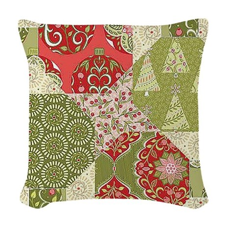 Christmas Quilt Pattern Woven Throw Pillow by listing-store-120910017