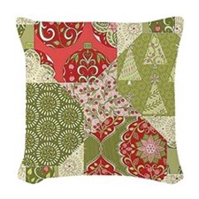 Christmas Quilt Pattern Woven Throw Pillow