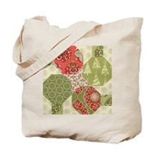 Christmas Quilt Pattern Tote Bag