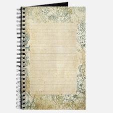Blue Floral Vintage Lined Page Journal