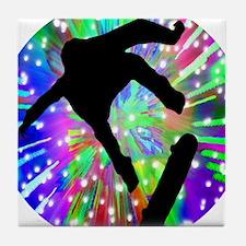 Skateboard Flip Out in Fireworks Tile Coaster