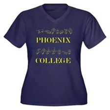 Phoenix Coll Women's Plus Size V-Neck Dark T-Shirt