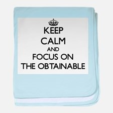 Keep Calm by focusing on The Obtainab baby blanket