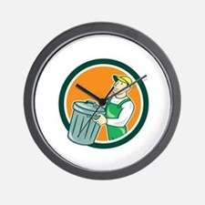 Garbage Collector Carrying Bin Circle Cartoon Wall