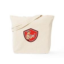 Plasterer Masonry Worker Shield Cartoon Tote Bag