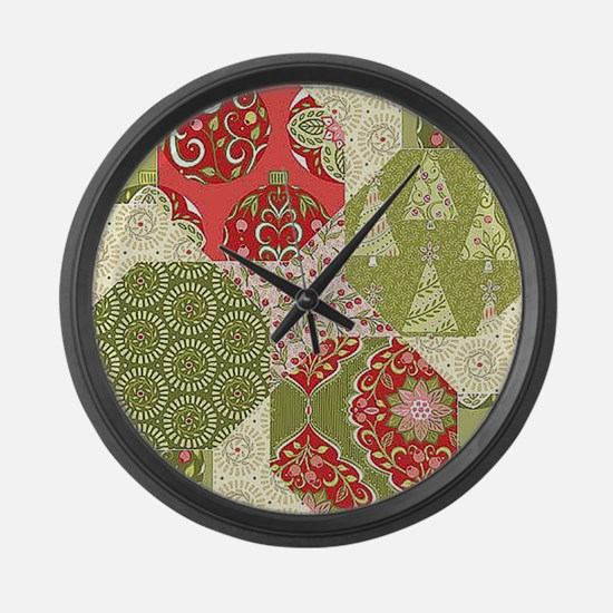 Christmas Quilt Pattern Large Wall Clock