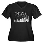 Chicago My Town Women's Plus Size V-Neck Dark T-Sh