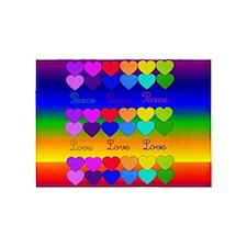 Rainbow Of Peace and Love 5'x7'Area Rug