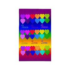 Rainbow Of Peace and Love 3'x5' Area Rug