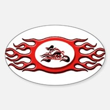 Biker Chick - Red Oval Decal