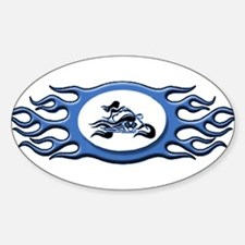 Biker Chick - Blue Oval Decal