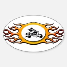 Biker Chick -Yellow Oval Decal