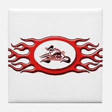 Biker Chick - Red Tile Coaster