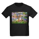 Lilies (2) & Chihuahua Kids Dark T-Shirt