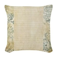 Blue Floral Vintage Lined Page Woven Throw Pillow