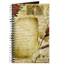 Vintage Letter With Rose Paper Journal