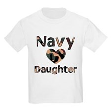 Navy Daughter Heart Camo T-Shirt