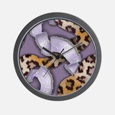 Leopards and Lace - Purple Wall Clock