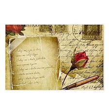 Vintage Letter With Rose Paper Postcards (Package