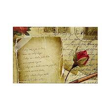 Vintage Letter With Rose Paper Magnets