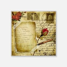 Vintage Letter With Rose Paper Sticker