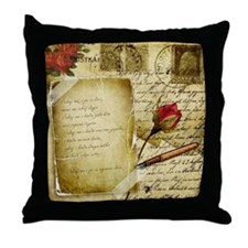 Vintage Letter With Rose Paper Throw Pillow