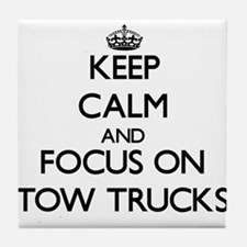 Keep Calm by focusing on Tow Trucks Tile Coaster
