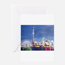Toronto Neon Shimmering Skyline Wit Greeting Cards