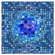 Optical Illusion Sphere - Blue Wall Art Poster