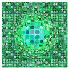 Optical Illusion Sphere - Green Wall Art Poster