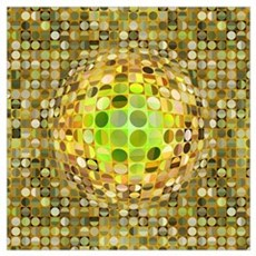 Optical Illusion Sphere - Yellow Wall Art Poster