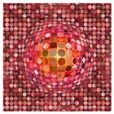 Optical Illusion Sphere - Pink Wall Art Poster