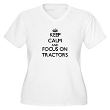 Keep Calm by focusing on Tractor Plus Size T-Shirt