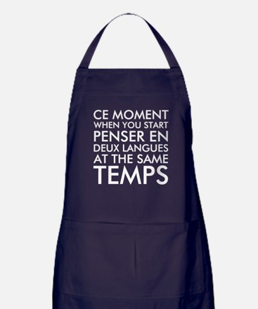 Thinking in French and English Apron (dark)
